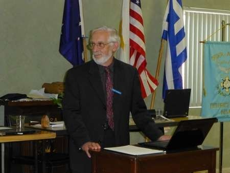 Peter McCarthy, from the Roxy Museum Committee, delivers a talk at AHEPA