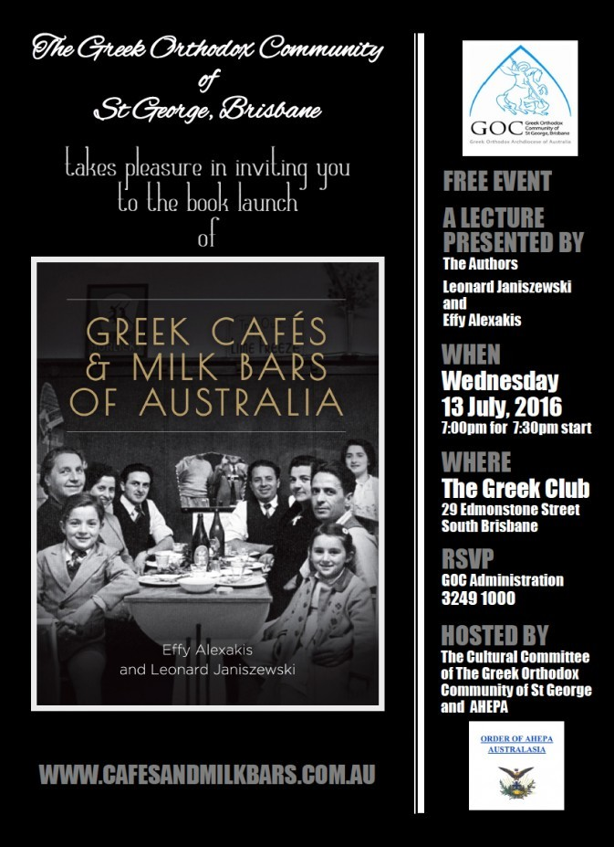 Greek Cafes & Milk Bars of Australia to be launched in Brisbane.