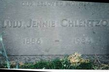 Headstone of my grandmother, Yanoula Koulentianos Chlentzos.  She was also known as Lulu and Jennie.  She is buried at Inglewood Memorial Cemetery, in Los Angeles, California.