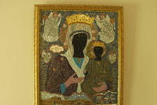 This mosaic of the Panagia Myrtidiotissa icon was created by Jim Leonis and donated to the San Francisco Annunciation Cathedral.