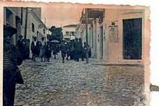 A street in Potamos on Sunday. Photo by Peter Clentzos during 1935 Greek Track and Field tour.